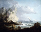Рыбаки на штормовом морском побережье