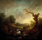 Закат и лошади на водопое