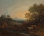 Пейзаж с ручьем и стадом