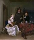 Женщина играет на лютне с двумя мужчинами