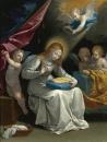 Богородица вышивает в окружении ангелов
