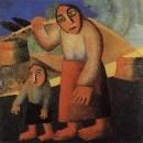 Крестьянка с ведрами и ребенком. Около 1912