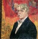 Автопортрет на фоне красного платка. 1919