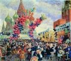 Вербный торг у Спасских ворот на Красной площади в Москве. 1917