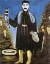 Мужчина с рогом, наполненным вином. Клеенка, масло. ГРМ
