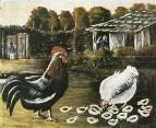 Курица с цыплятами. Клеенка, масло. ГМИ Грузии, Тбилиси