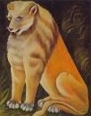 Сидящий желтый лев. Картон, масло, 99x80 ГМИ Грузии, Тбилиси