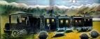 Поезд в Кахетии. Клеенка, масло. 70X106 ГМИ Грузии, Тбилиси