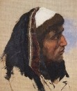 Голова молодого мужчины в синем покрывале. 1880-е