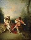 Любовная пара и менестрель с гитарой (1713-1715) (36.3 x 28.2) (частная коллекция) (оценоч.стоимость