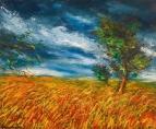 Пшеничное поле с деревьями