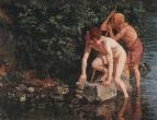 Старик и мальчик, выходящие из воды. 1840-е