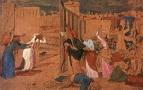 Богоматерь, ученики Христа и женщины, следующие за Ним, смотрят издали на распятие.1850-е