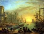Морская гавань при заходе солнца