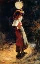 Девочка-итальянка, замахнувшаяся тамбурином на ящерицу