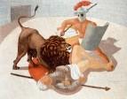 Gladiadores y leon