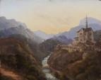 Вечерний горный пейзаж с церковью, неизвестная дата