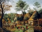 Деревенский пейзаж с обедающими крестьянами (частная коллекция)