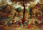 Сельская сцена с танцующими вокруг дерева