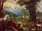 Пейзаж рая и погрузка животных в Ноев ковчег, 1596