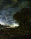 Пейзаж с рекой вечером