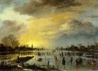 Зимний пейзаж с фигуристами на закате