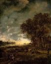 Пейзаж с рекой, вечер