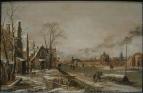 Деревня с замерзшей рекой, 1640