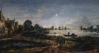 Речной пейзаж в лунном свете, ок 1645