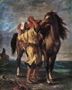 1855 - Arab Saddling his Horse
