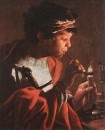 Boy Lighting A Pipe