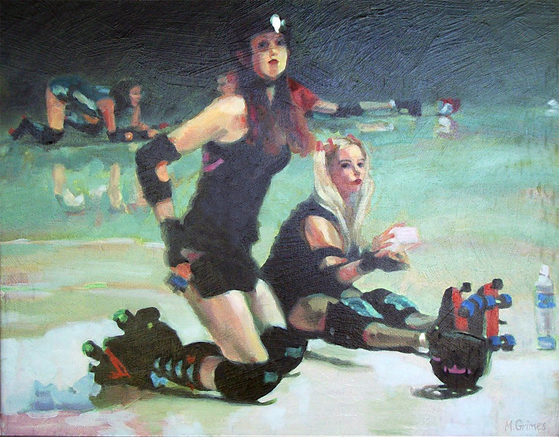 Roller Derby Oil on Canvas